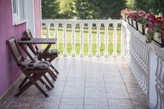 Balcone con un bello terrazzo Fotografia Stock Libera da Diritti
