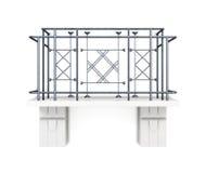 Balcone con un recinto del metallo su un fondo bianco rappresentazione 3d Fotografia Stock