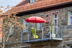 Balcone d'acciaio nella vecchia città di Bayreuth fotografie stock libere da diritti