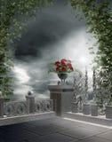 Balcone gotico con i fiori Fotografia Stock