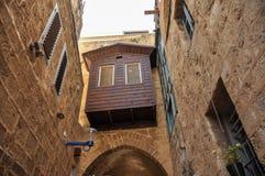 Balcone nella vecchia città Israele di Giaffa fotografia stock libera da diritti