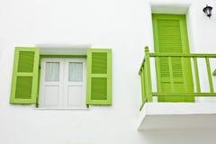 Balcone verde e finestra verde Fotografie Stock