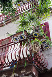 Balcones adornados con las plantas y las macetas especiales Foto de archivo