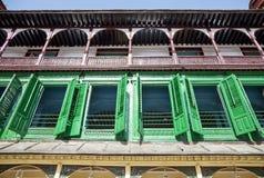 Balcones coloridos, Katmandu, Nepal Fotos de archivo libres de regalías