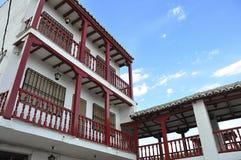 Balcones de madera rojos Imágenes de archivo libres de regalías