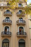 Balcones redondos en las propiedades horizontales de Barcelona Imágenes de archivo libres de regalías