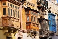 Balconi di La Valletta, Malta Fotografia Stock Libera da Diritti