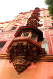 Balconi ornamentali di mahdi di Sarjah al complesso del palazzo di maratha del thanjavur Immagini Stock Libere da Diritti