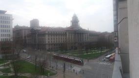 Balconi siktsbelgrade rainny dag Arkivfoton