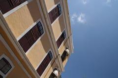 Balconies. Building brown balconies with sky Stock Photos