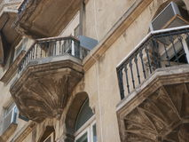 Balconies. Ancient balconies in Baku (Azerbaijan Royalty Free Stock Photography