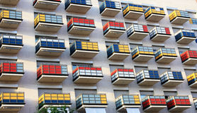Balconies. Multi-colored balconies of a modern building in a city similar to a Cube Rubica Royalty Free Stock Photos