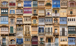 Balconies. Collage of different balconies in Malta Stock Image
