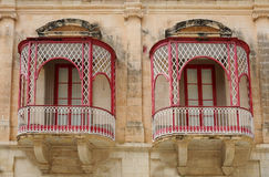 Balconies. Beautiful balconies in the city of Mdina, Malta Royalty Free Stock Images