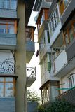 Balconies. Dense building up with balconies royalty free stock images