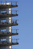 Balconies against a blue sky. Copy space stock photo