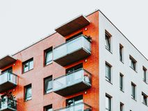 Balconies of Apartment home residential building complex real estate. Concept. Place for copy space stock images