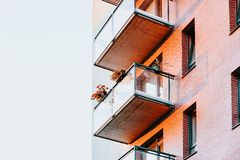 Balconies of Apartment house residential building complex real estate. Concept. Place for copy space stock photo