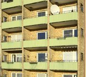 Balconies in apartment residential building Royalty Free Stock Photo