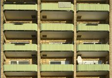 Balconies in apartment residential building Royalty Free Stock Photos