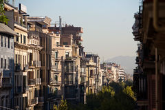 Balconies in Barcelona. Street in barcelona in the summer Royalty Free Stock Images