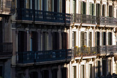 Balconies in Barcelona. Street in barcelona in the summer Royalty Free Stock Image