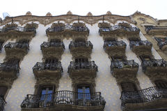 Balconies in Barcelona's homes - a work of art Stock Photography