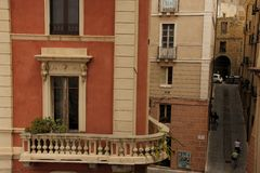 Balconies. Beautiful balconies overlooking the narrow streets of Cagliari on the island of Sardinia, Italy Stock Images