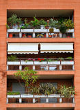 Balconies of a brick building, decorated with flowers and plants. In pots. Vertical view Stock Images