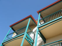 Balconies of a building. Building with balconies with a clear blue sky Royalty Free Stock Images