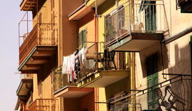 Balconies of buildings in Vernazza, Cinque Terre, Italy royalty free stock images
