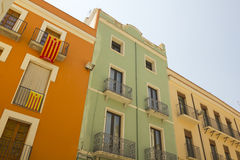 Balconies in Catalonia with the flag of independence. Stock Photos