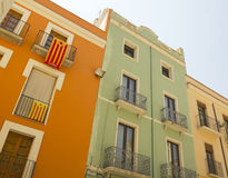 Balconies in Catalonia with the flag of independence. Royalty Free Stock Image