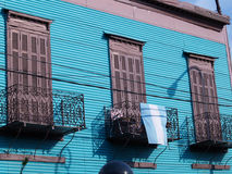 Balconies. Colorful houses in La Boca Royalty Free Stock Images