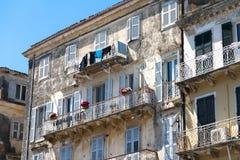Balconies in Corfu Royalty Free Stock Photography