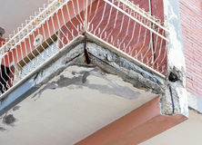 Balconies with cracked concrete requiring renovation Royalty Free Stock Photography