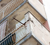 Balconies with cracked concrete requiring renovation Royalty Free Stock Images