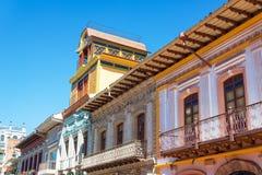 Balconies in Cuenca, Ecuador. Colorful historic balconies in Cuenca, Ecuador Royalty Free Stock Image