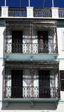 Balconies decorative railings. Old, decorative wrought iron railings on apartment balconies Stock Photography