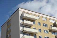 Balconies to the sky. Balconies on an eastgerman Plattenbau Royalty Free Stock Photo