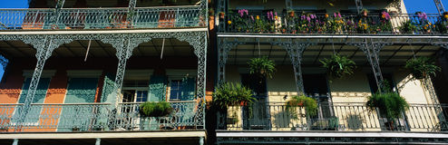 Balconies in French Quarter of New Orleans, LA Royalty Free Stock Photography