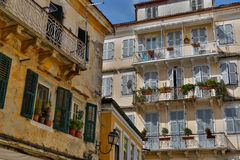 Balconies in Greece Royalty Free Stock Image
