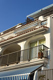 Balconies of holiday apartments in Roc de Sant Gaieta, Spain. Stock Photos