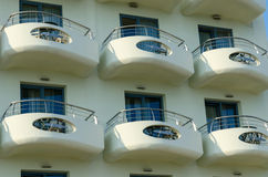 The balconies of the hotel in Greece Stock Photos