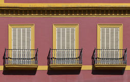 Balconies of a house in Seville Royalty Free Stock Images
