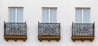Balconies of a house in Seville Stock Photography