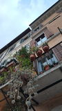 Balconies on houses, Rome, Italy Stock Photos