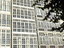 Balconies in La Coruna Stock Photos