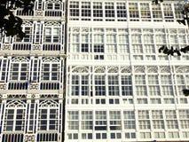 Balconies in La Coruna Stock Images