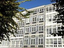 Balconies in La Coruna Royalty Free Stock Photography
